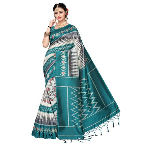 Glorious White-Turquoise Green Colored Festive Wear Art Silk Saree