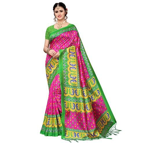 Blooming Pink Colored Festive Wear Art Silk Saree