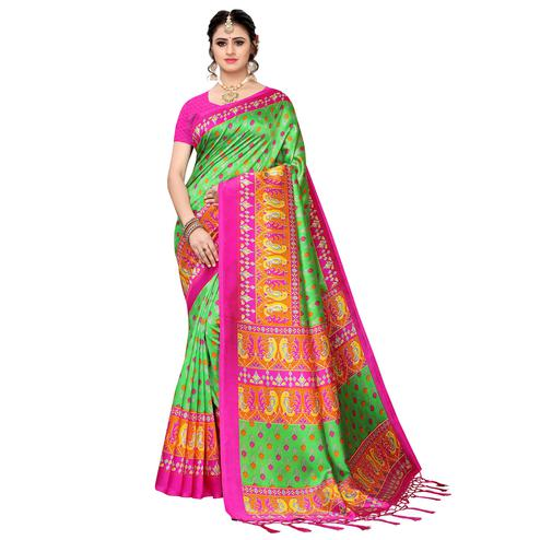 Delightful Green Colored Festive Wear Art Silk Saree