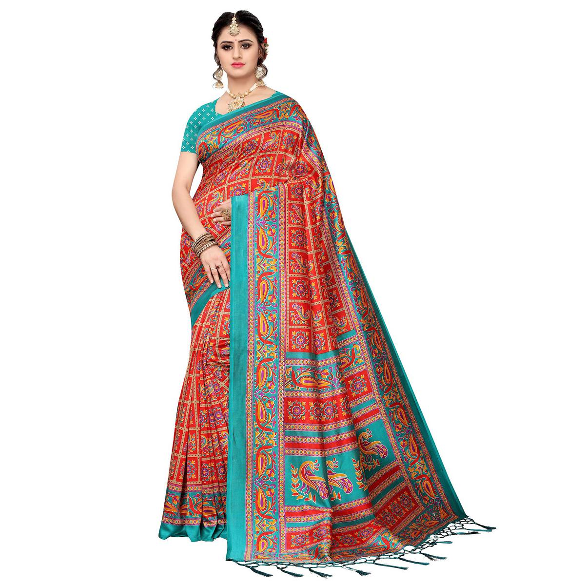 Engrossing Red Colored Festive Wear Art Silk Saree