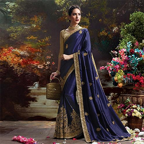 Navy Blue Designer Partywear Embroidered Navy Blue Paper Silk Saree