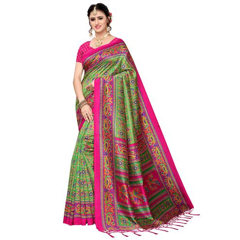 Captivating Green Colored Festive Wear Art Silk Saree
