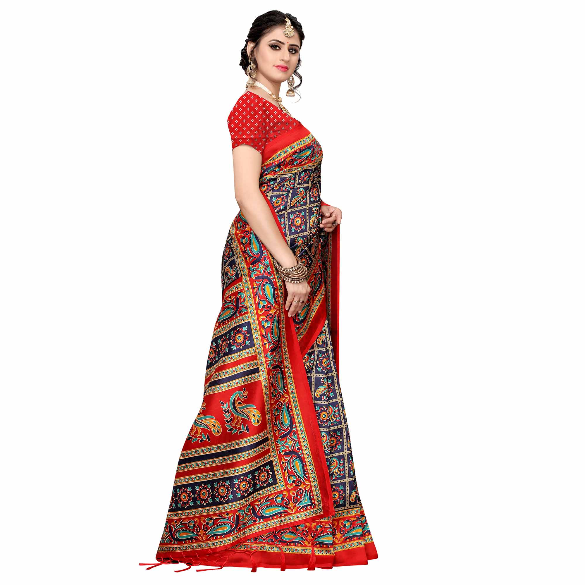 Innovative Navy Blue Colored Festive Wear Art Silk Saree