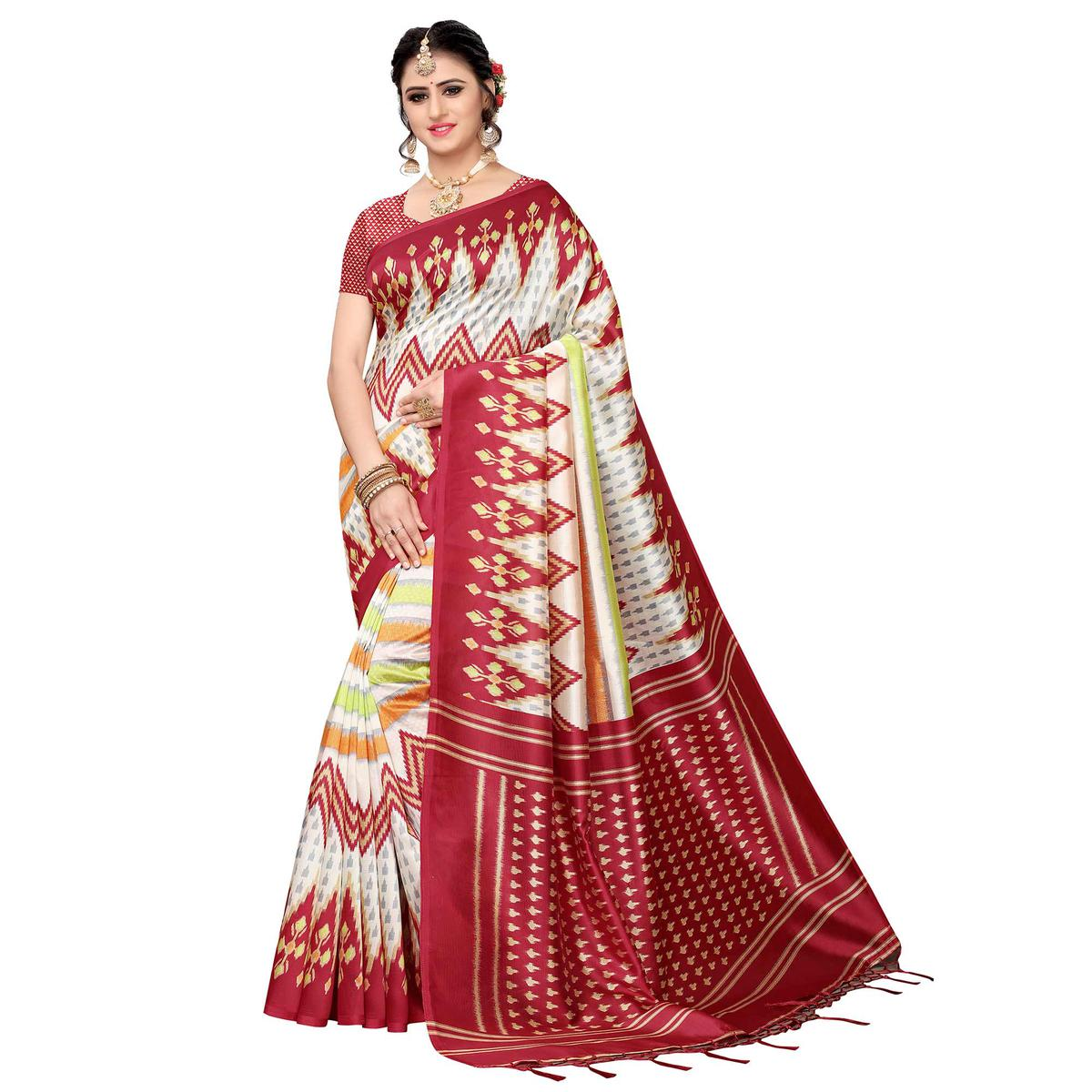 c4917a66ef0819 Buy Fantastic White-Maroon Colored Festive Wear Art Silk Saree for womens  online India, Best Prices, Reviews - Peachmode