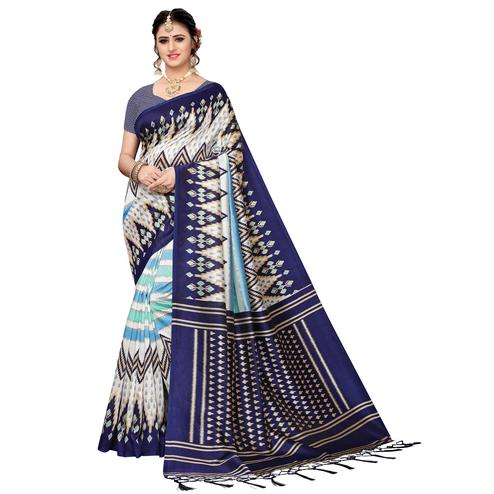 Blissful White-Navy Blue Colored Festive Wear Art Silk Saree