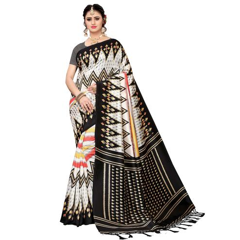 Ideal White-Black Colored Festive Wear Art Silk Saree