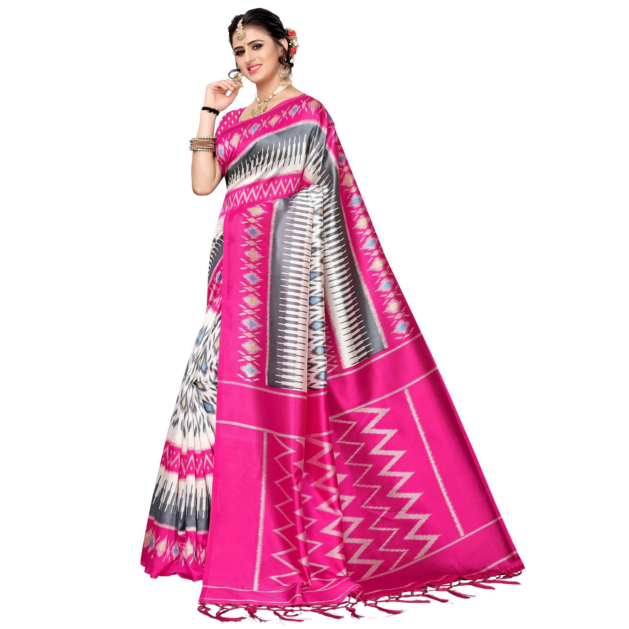 Imposing White-Pink Colored Festive Wear Art Silk Saree