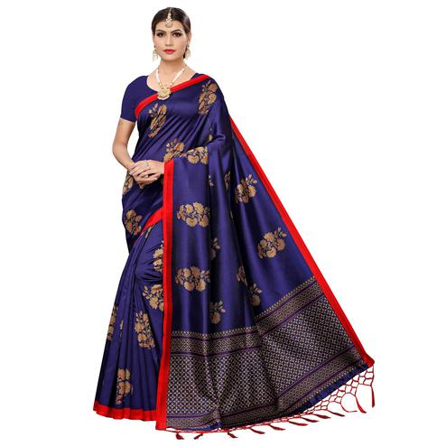 Lovely Navy Blue Colored Festive Wear Art Silk Saree