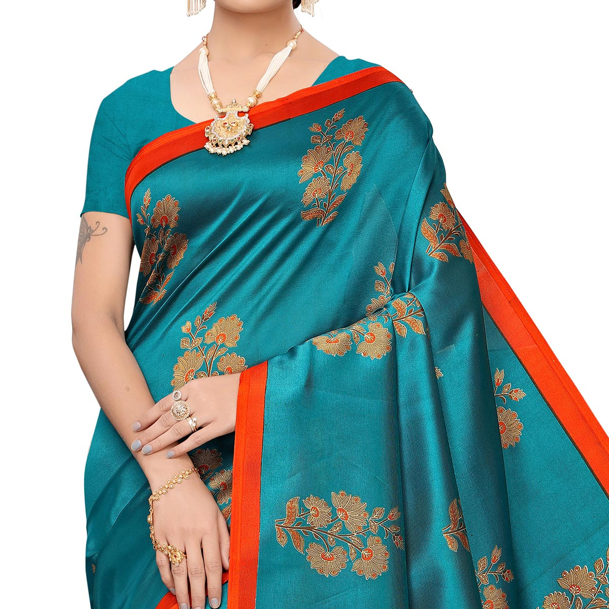 Majesty Turquoise Green Colored Festive Wear Art Silk Saree