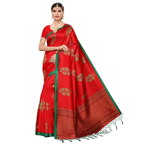 Impressive Red Colored Festive Wear Art Silk Saree