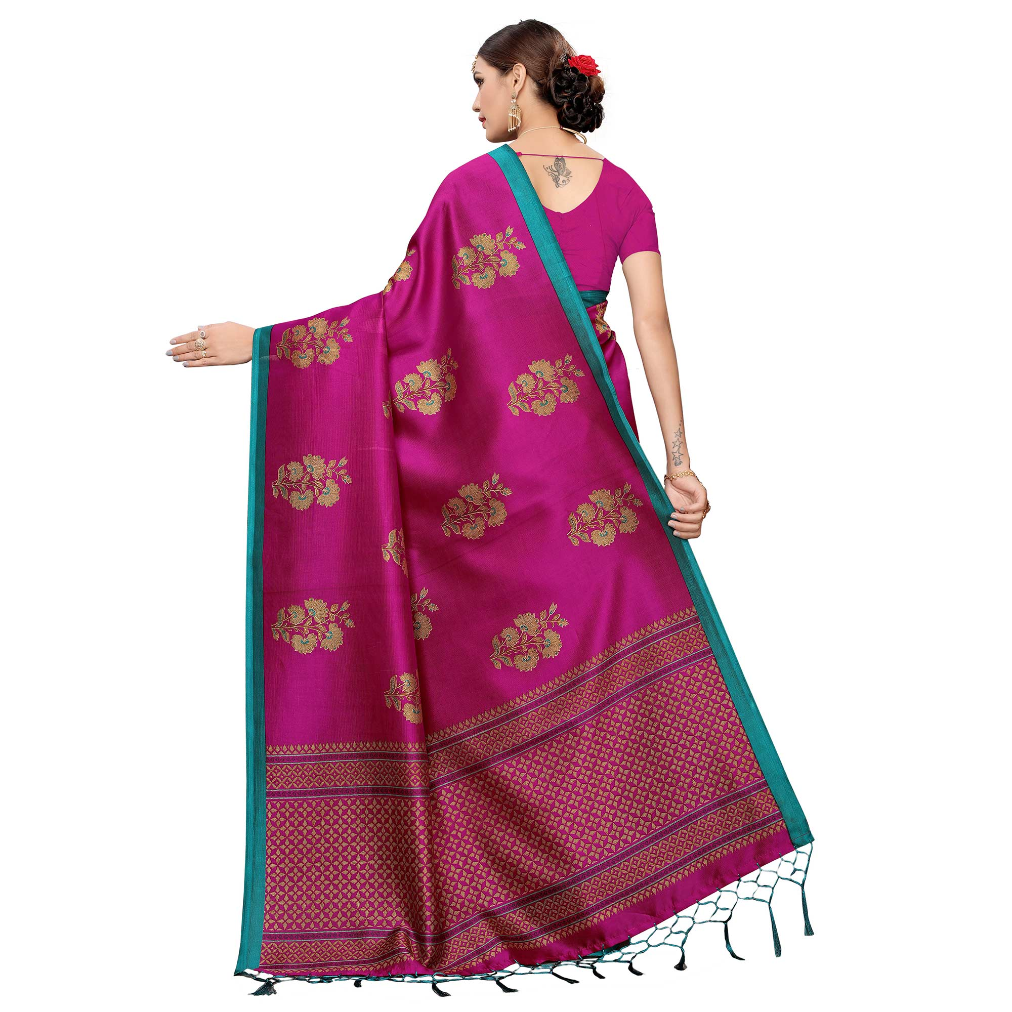 Mesmerising Dark Magenta Pink Colored Festive Wear Art Silk Saree