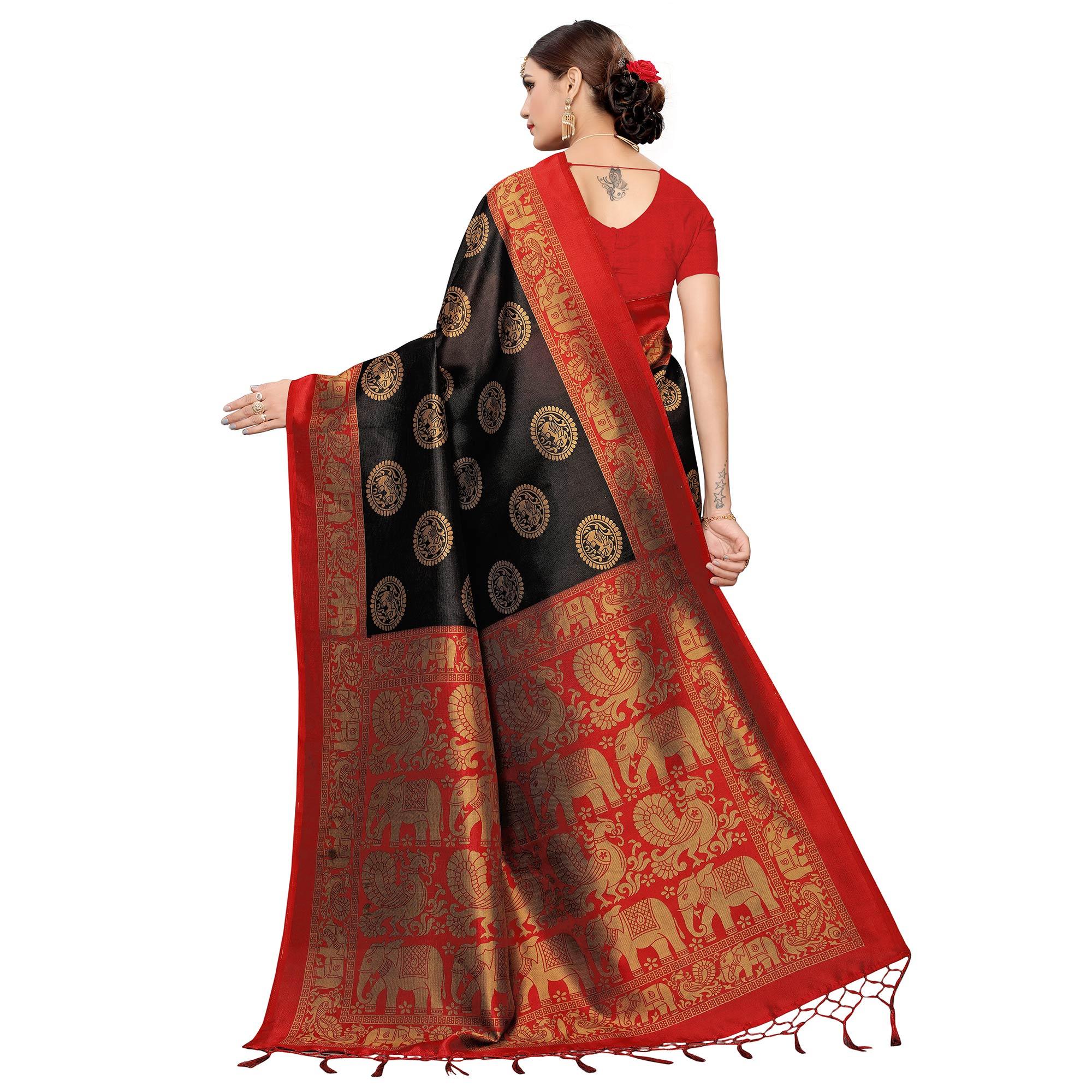 Pleasance Black Colored Festive Wear Art Silk Saree