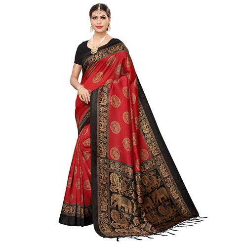 Breathtaking Red Colored Festive Wear Art Silk Saree