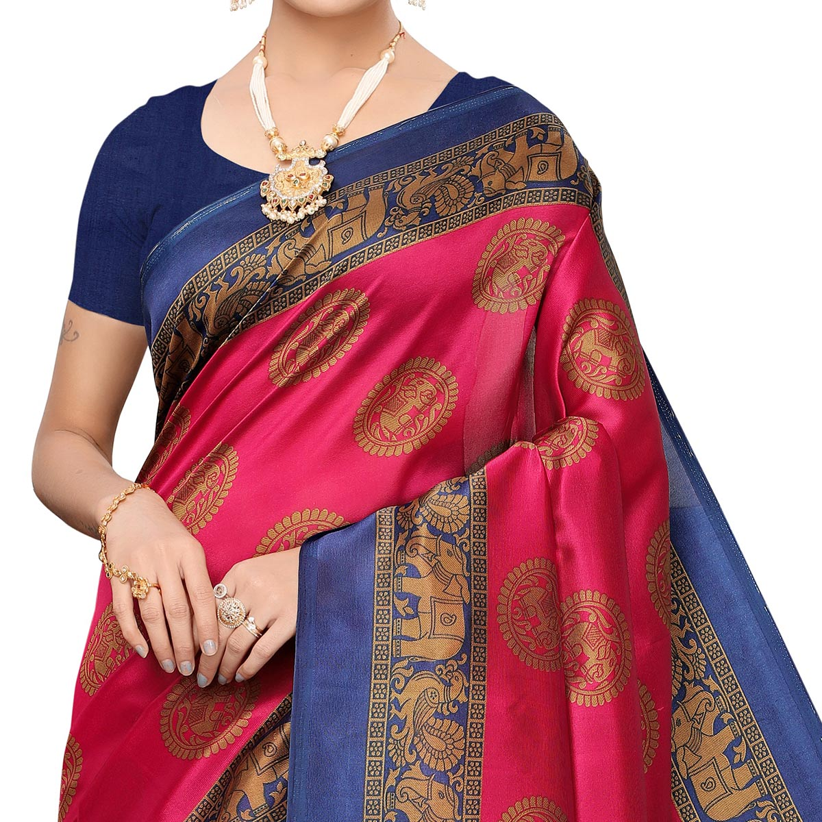 Ethnic Pink Colored Festive Wear Art Silk Saree
