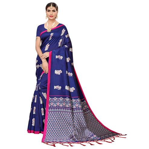 Ravishing Navy Blue Colored Festive Wear Art Silk Saree