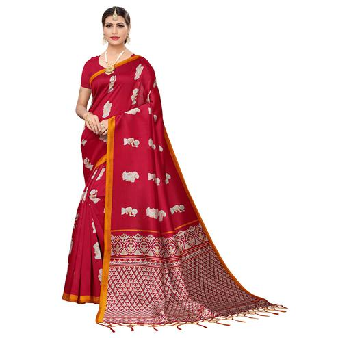 Staring Red Colored Festive Wear Art Silk Saree
