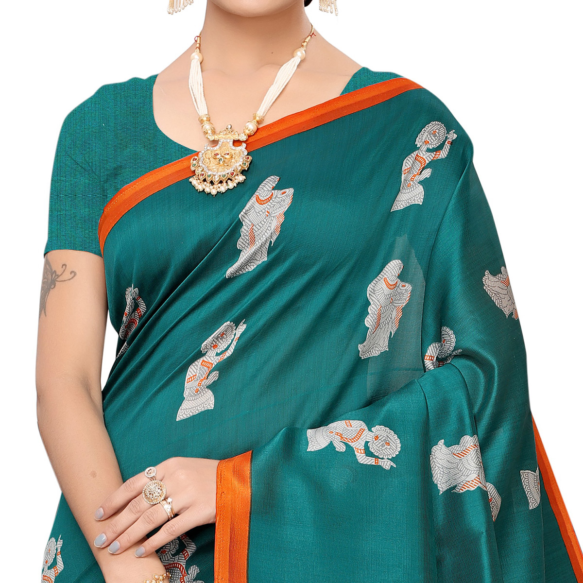 Dazzling Turquoise Green Colored Festive Wear Art Silk Saree