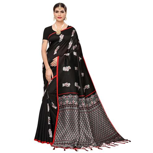 Surpassing Black Colored Festive Wear Art Silk Saree