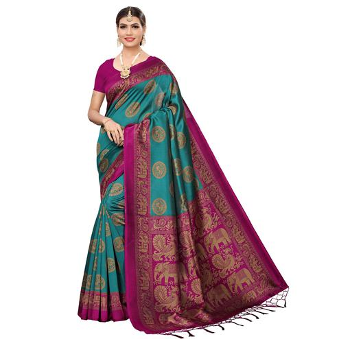 Intricate Turquoise Green Colored Festive Wear Art Silk Saree