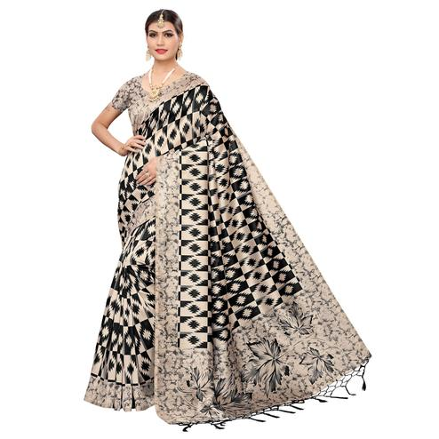 Arresting Beige-Black Colored Festive Wear Art Silk Saree