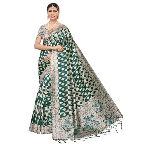Desirable Beige-Green Colored Festive Wear Art Silk Saree