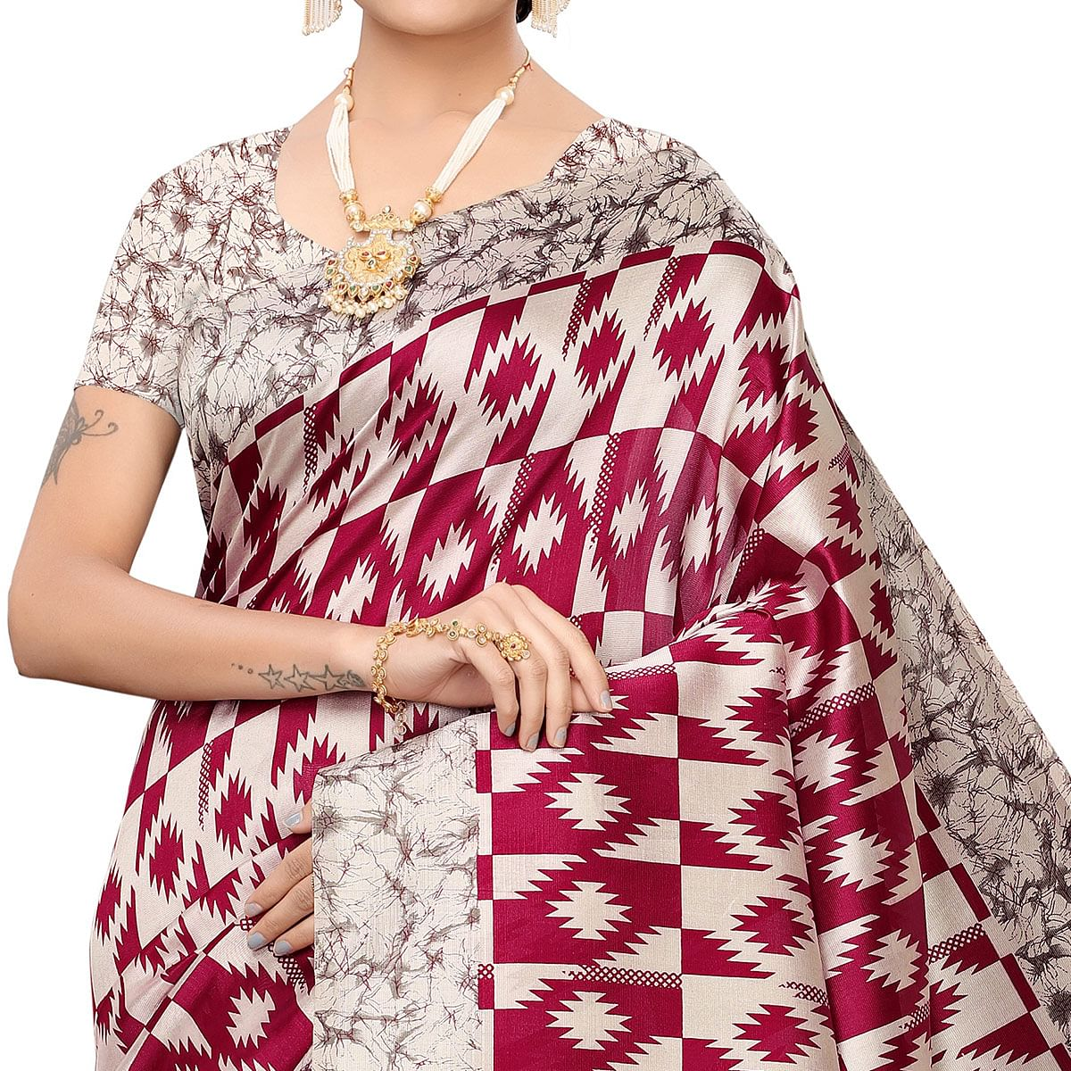 Exotic Beige-Red Colored Festive Wear Art Silk Saree