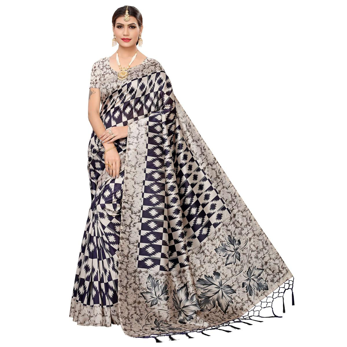 Sophisticated Beige-Navy Blue Colored Festive Wear Art Silk Saree