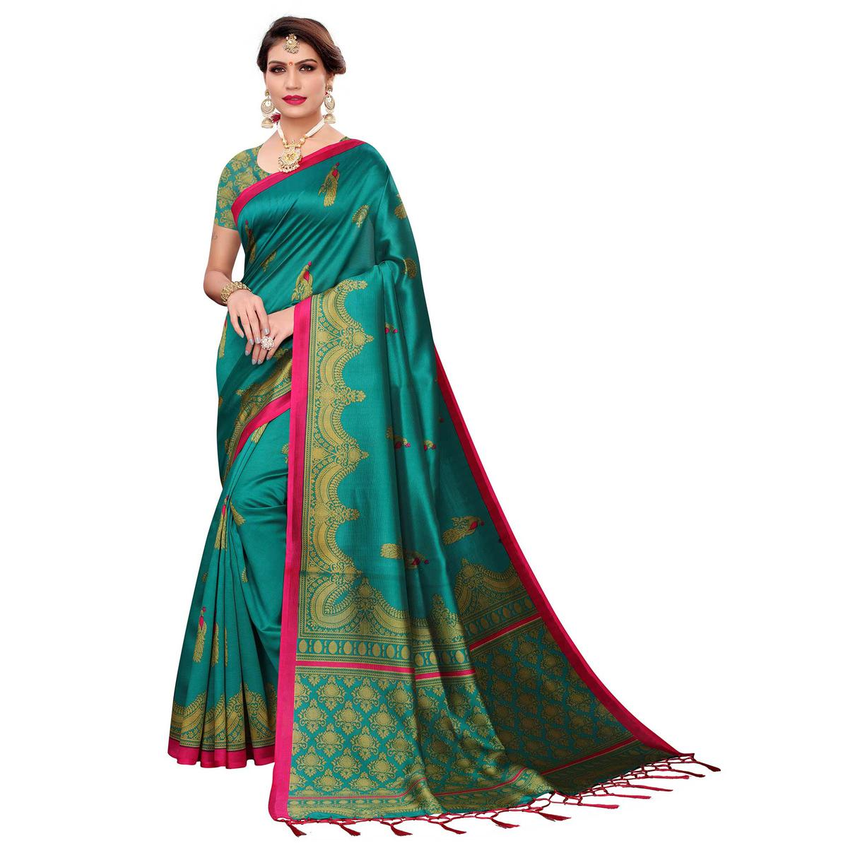 Trendy Turquoise Green Colored Festive Wear Art Silk Saree