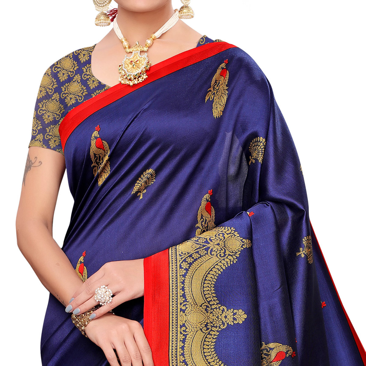 Elegant Navy Blue Colored Festive Wear Art Silk Saree