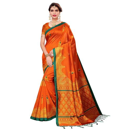 Pleasant Orange Colored Festive Wear Art Silk Saree