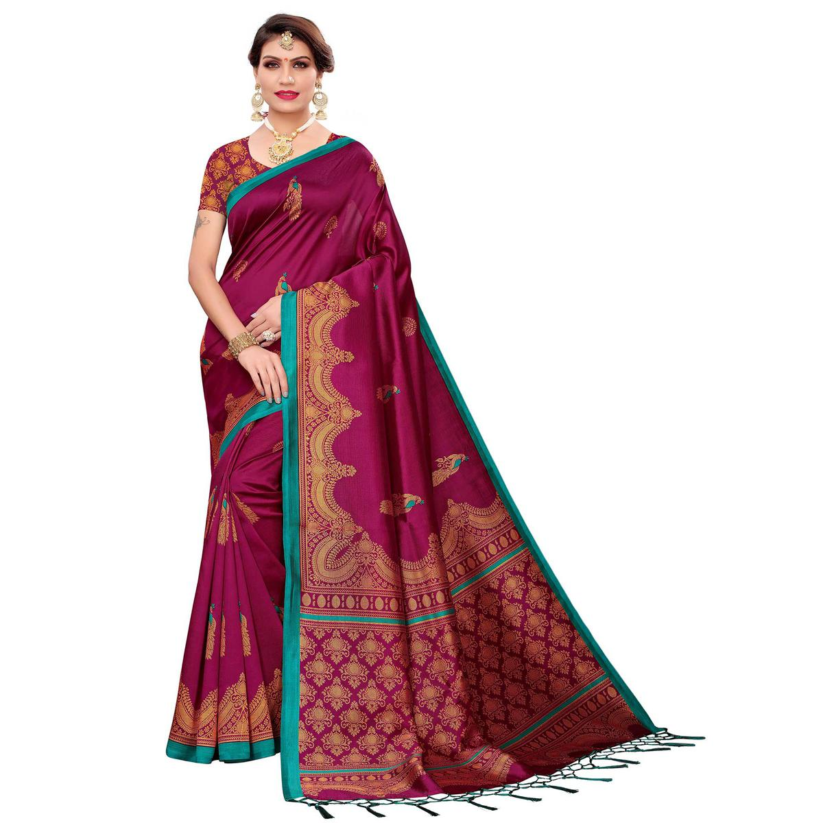 Opulent Dark Magenta Pink Colored Festive Wear Art Silk Saree