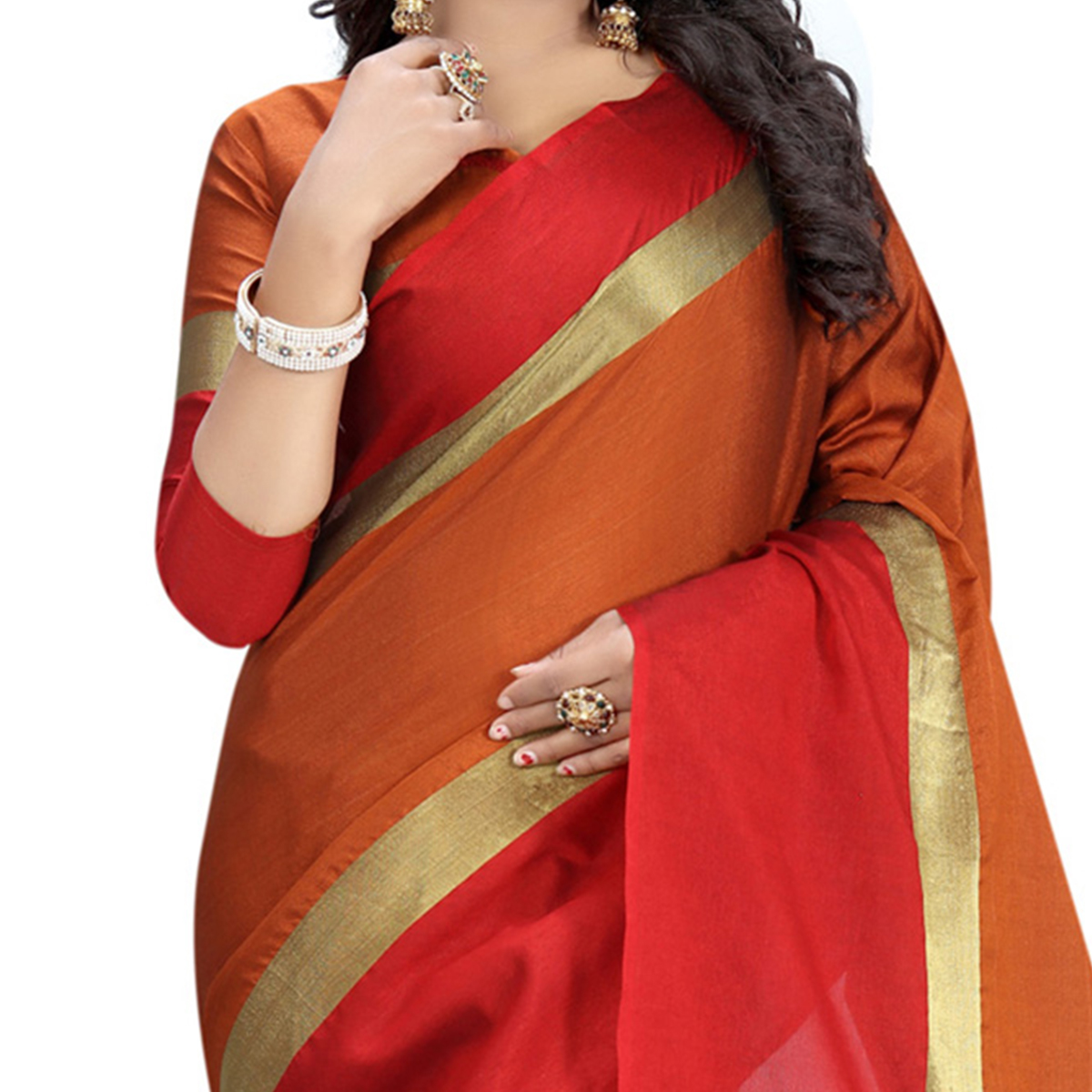 Orange Red Poly Cotton Casual Saree