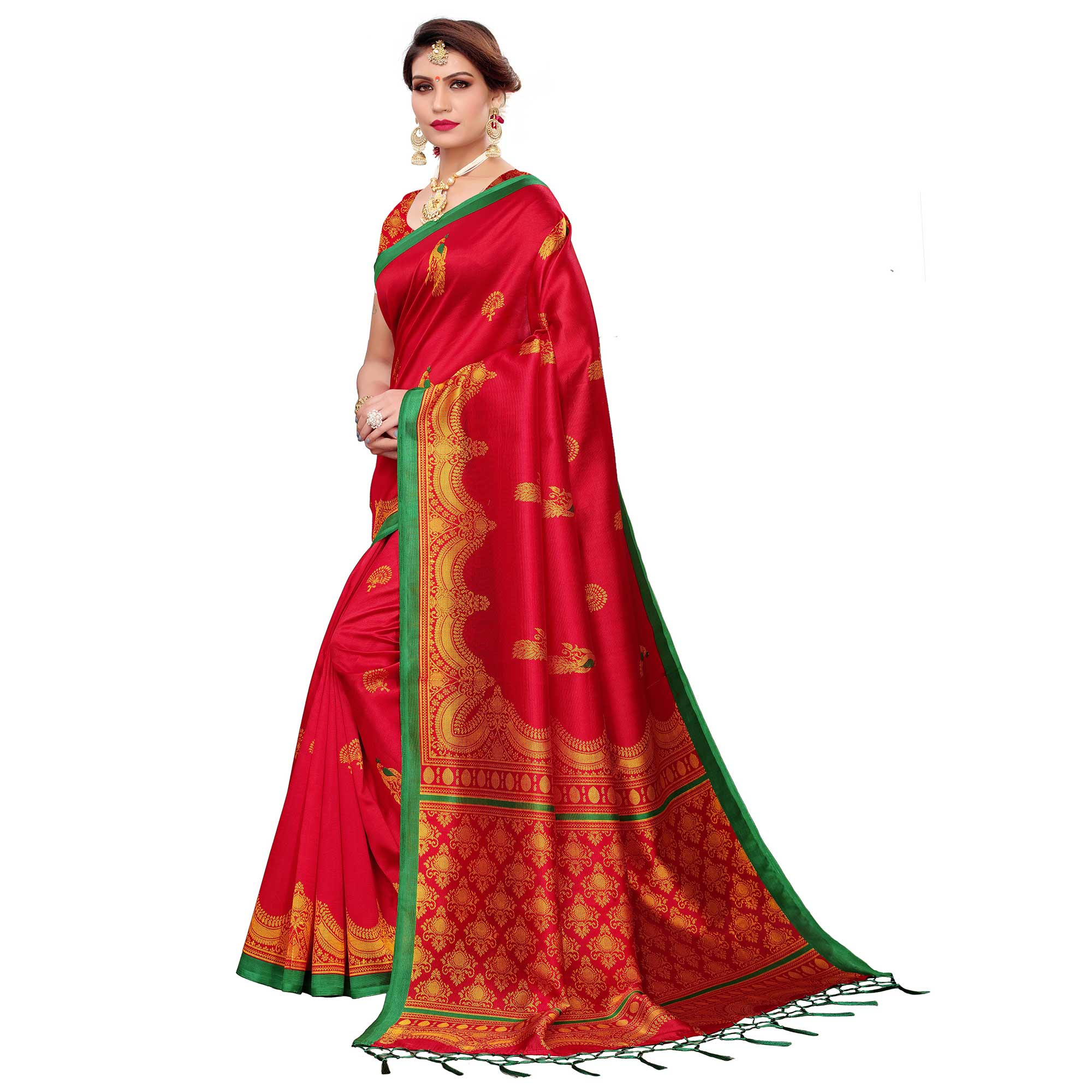 Energetic Red Colored Festive Wear Art Silk Saree