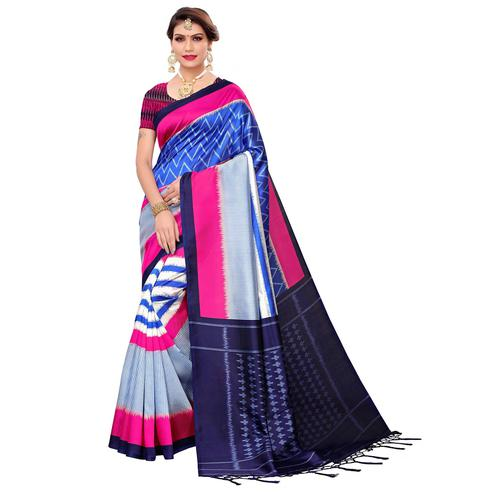 Glowing Blue Colored Festive Wear Art Silk Saree