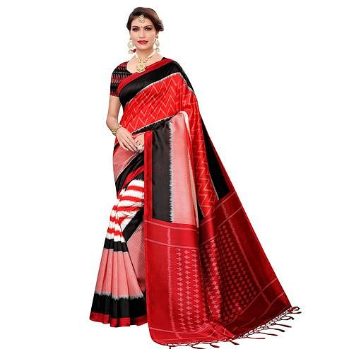 Gleaming Red Colored Festive Wear Art Silk Saree