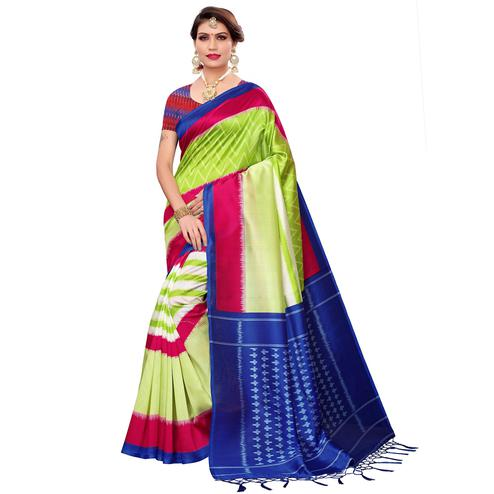 Mesmeric Green Colored Festive Wear Art Silk Saree