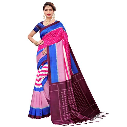 Unique Pink Colored Festive Wear Art Silk Saree