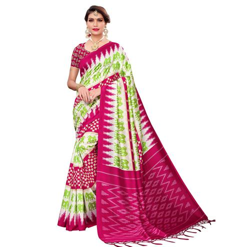 Refreshing White-Pink Colored Festive Wear Art Silk Saree