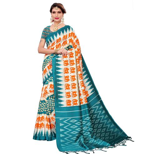 Magnetic White-Rama Blue Colored Festive Wear Art Silk Saree