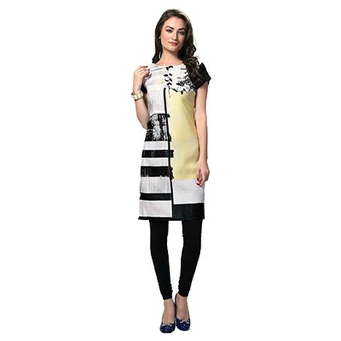 Black - White Round Neck Kurti