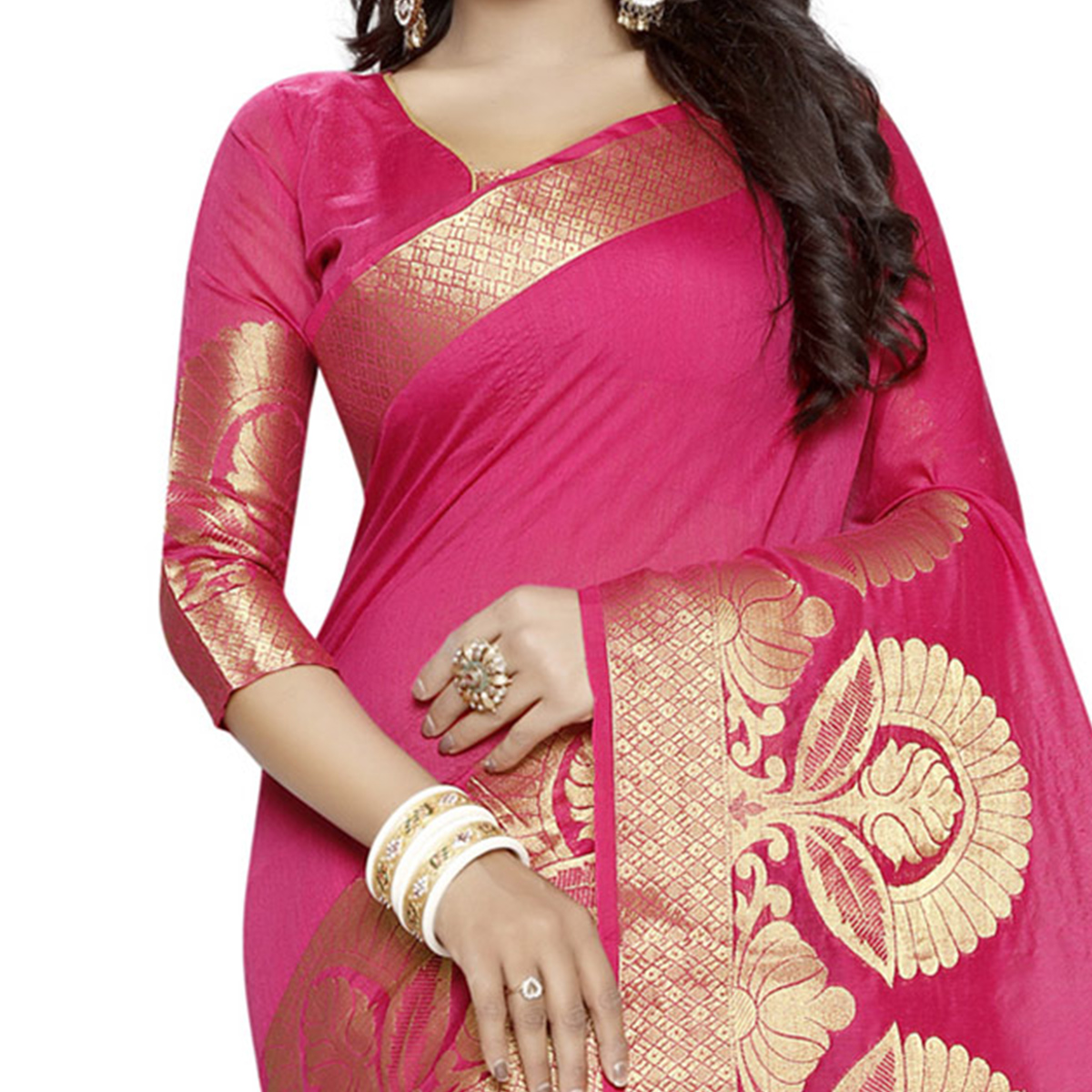 Beautiful Pink Poly cotton Traditional Saree