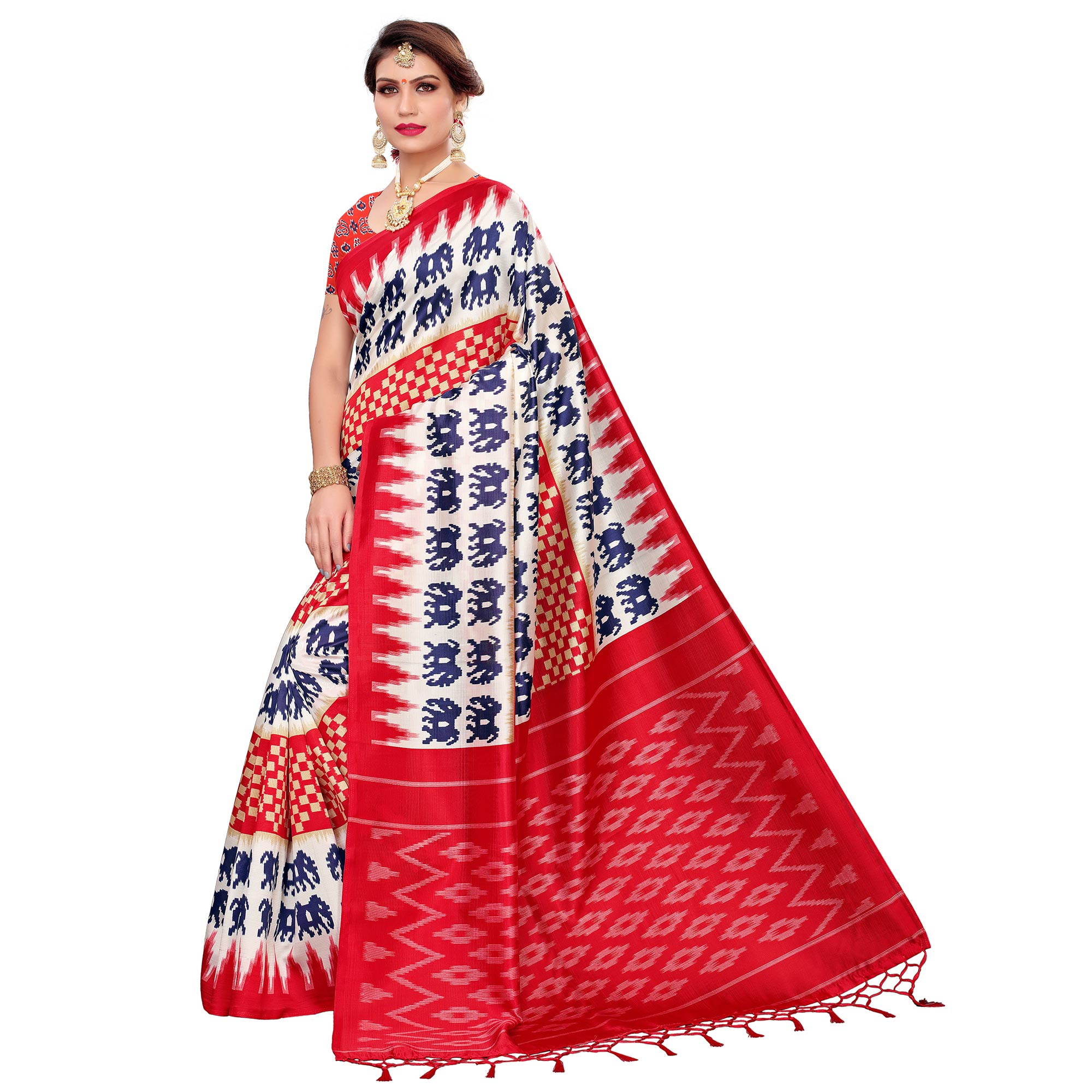 Flattering White-Red Colored Festive Wear Art Silk Saree