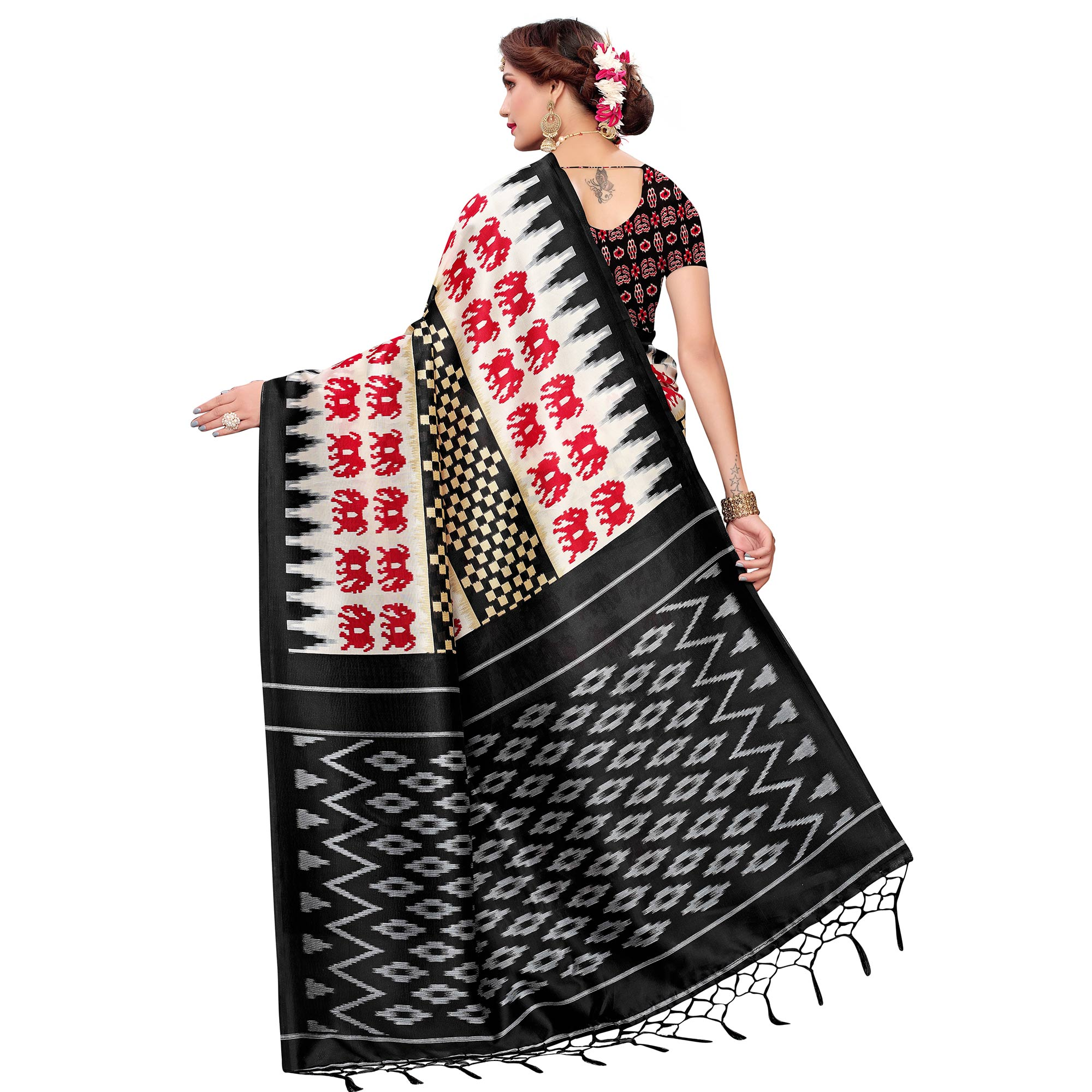 Excellent White-Black Colored Festive Wear Art Silk Saree