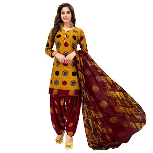 d676c93fa4 Imposing Yellow Colored Casual Printed Crepe Patiala Dress Material