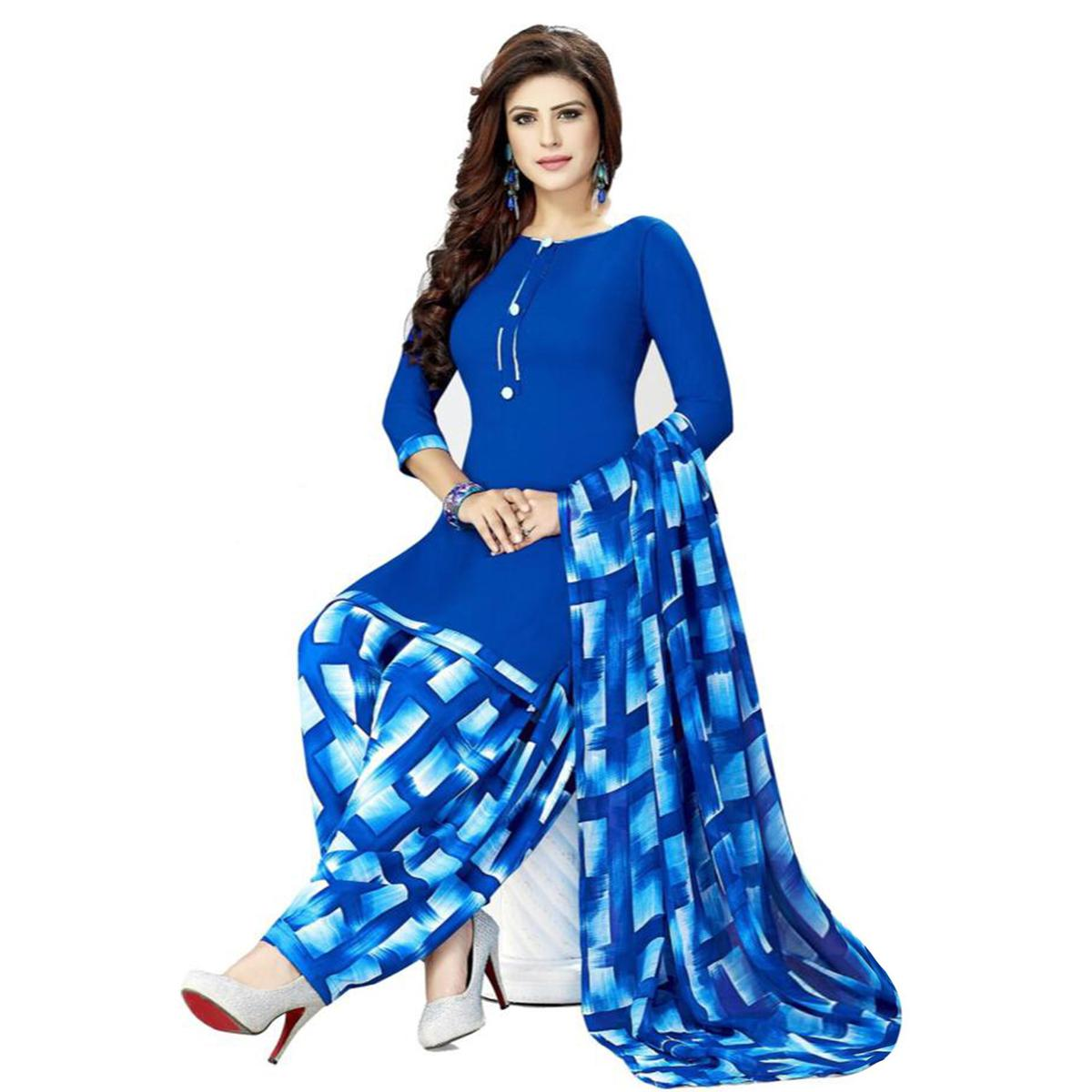 Mesmeric Royal Blue Colored Casual Printed Crepe Patiala Dress Material