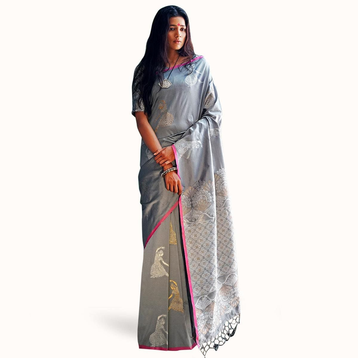 Appealing Gray Colored Partywear Woven Silk Saree