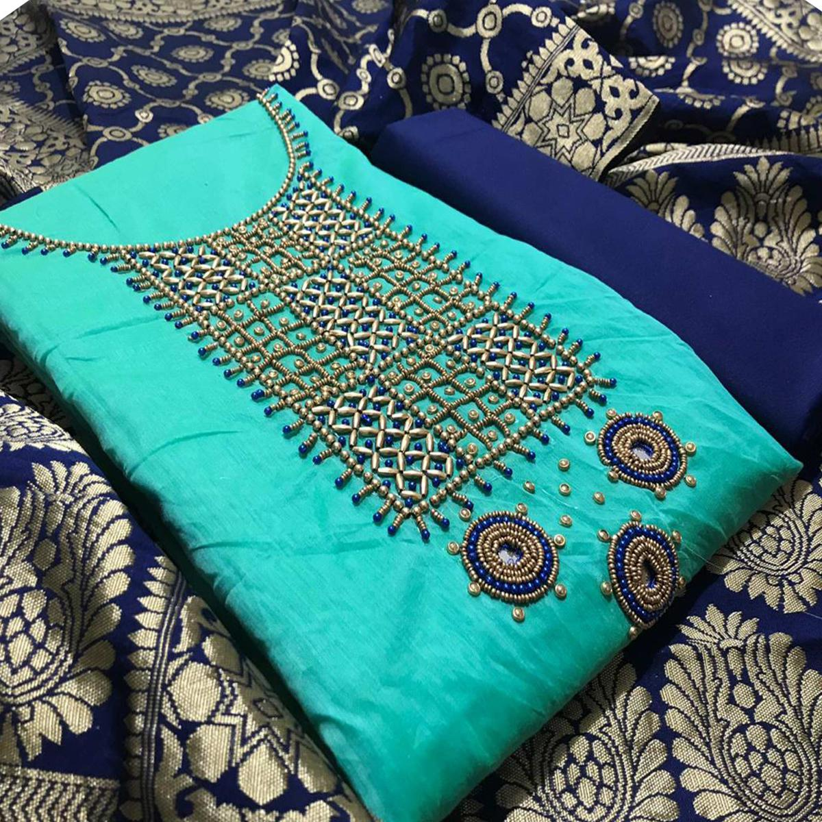 Adorable Blue Colored Partywear Embroidered Chanderi Silk Dress Material