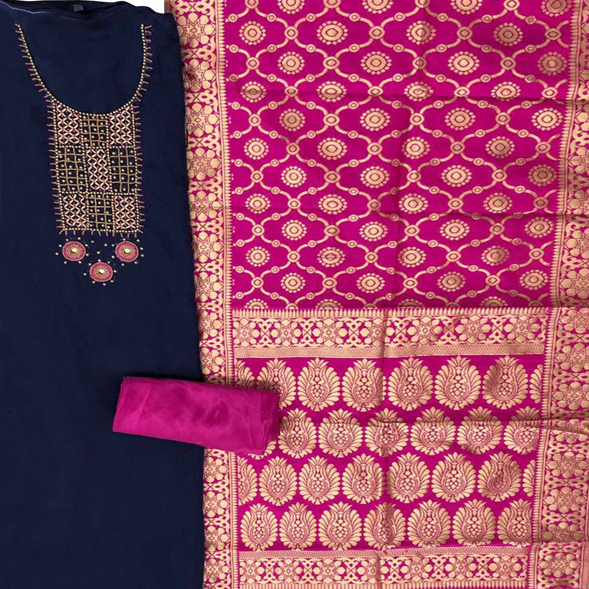 Elegant Navy Blue Colored Partywear Embroidered Chanderi Silk Dress Material