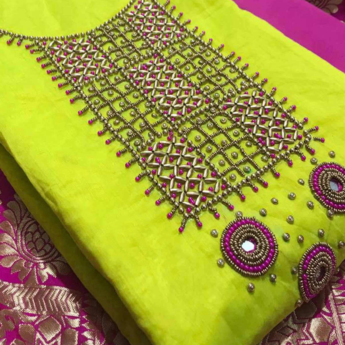 Arresting Green Colored Partywear Embroidered Chanderi Silk Dress Material