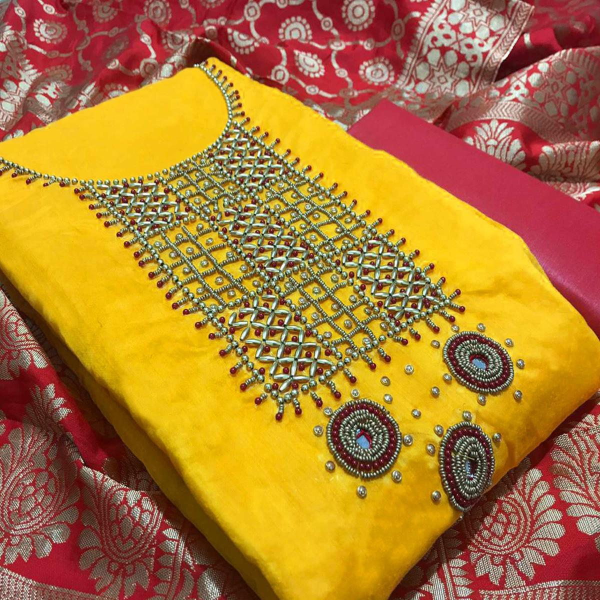 Opulent Yellow Colored Partywear Embroidered Chanderi Silk Dress Material